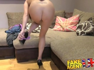 Tight and bald British pussy fucked by fake UK agent