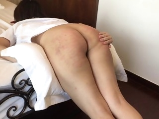 asian giel gets a hard domestic punishment