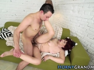 Hairy granny cum soaked